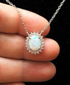 Oval White Opal Necklace CZ Diamond by AyansiWeddingDesigns
