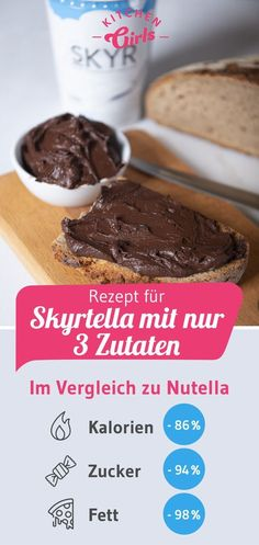 Low-calorie Nutella alternative: recipe for Skyrtella with no .-Kalorienarme Nutella Alternative: Rezept für Skyrtella mit nur 3 Zutaten Low-calorie Nutella alternative: Recipe for Skyrtella with only 3 ingredients - Healthy Desserts, Raw Food Recipes, Low Carb Recipes, Dessert Recipes, Nutella Recipes, Snacks Recipes, Healthy Recipes, Low Calorie Meals, Desserts Sains