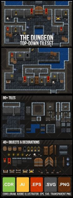 Set of tiles that can be used to create a level/map for top-down games. With medieval dungeon or castle theme. Very suitable to create fantasy RPG games, or other top-down games with similar theme. #2d #game #assets #tile #tileset #rpg #fantasy