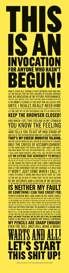 "store :: ze frank - ""Invocation"" Poster :: Yellow  If there is ANYTHING I want more than ANYTHING ELSE. It is this poster. Please."