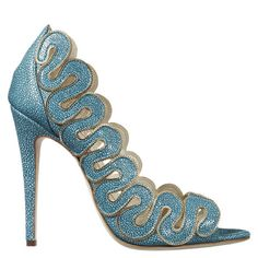 Single Sole Scallop Chain Edged Sandal Yana by Brian Atwood Pretty Shoes, Beautiful Shoes, Awesome Shoes, Beautiful Dresses, Shoe Boots, Shoes Heels, Fab Shoes, Sexy Heels, Blue Shoes