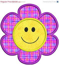 Smiley Face Flower Applique