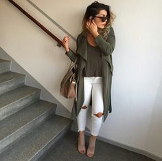 Just because it's fall doesn't mean you have to pack up your white jeans. Pair them with olive for the perfect summer to fall transition look.