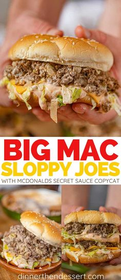 Big Mac Sloppy Joes are a delicious one pan meal with a McDonald's Big Mac Secret Sauce Copycat made in 30 minutes. You'll never need the drive-thru again. easy dinner Big Mac Sloppy Joes (w/ Secret Sauce!) - Dinner, then Dessert Mcdonalds Recipes, Hamburger Recipes, Ground Beef Recipes, Meat Recipes, Dinner Recipes, Cooking Recipes, Recipies, Meatball Recipes, Risotto