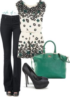 Jade and Black, created by styleofe on Polyvore