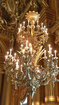 Opéra, Palais Garnier - Grand Staircase - Close-up of Chandelier Ludicrously over the top per se, yet absolutely perfect for its lavishly lush Second Empire setting of the Palis Garnier interior Antique Chandelier, Chandelier Lighting, Crystal Chandeliers, French Chandelier, Bedroom Chandeliers, Luxury Chandelier, Glass Chandelier, Bedroom Lighting, Light In