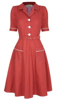 Vintage Dresses Utility Dress- Red Love the pockets and matching trim on the sleeves! Vestidos Vintage, Vintage Dresses, Aprons Vintage, 1940s Fashion, Vintage Fashion, French Fashion, Retro Outfits, Vintage Outfits, Look Retro