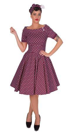 Retro Swing Dress Darlene - Flieder mit Dots