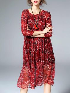 Shop Midi Dresses - A-line Floral Silk Vintage 3/4 Sleeve Midi Dress online. Discover unique designers fashion at StyleWe.com.