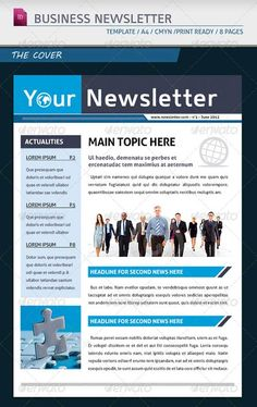 newsletter template 4 pages adjustable texts suits