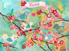 Cherry Blossom Birdies - Floral Canvas Wall Art | Oopsy daisy