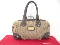 Auth-BALLY-Hand-Bag-Leather-Knit-Brown-Italy-Free-Shipping-21120515900-D26EX