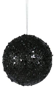"3"" Fancy Black Glitter Drenched Christmas Ball Ornament eclectic-holiday-decorations"