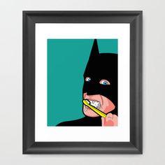 The Secret Life of Heroes - Batbrush Framed Art Print by Greg-guillemin