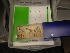 Word work with scrabble tiles