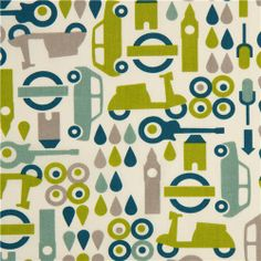 ecru birch organic fabric with green mopeds, cars, guitars