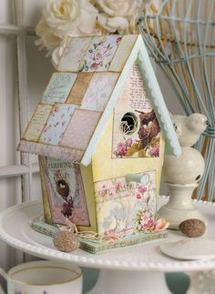 Decoupage scrapbook paper onto a wood birdhouse. Paint the trim. Shabby Chic Bedrooms, Shabby Chic Homes, Shabby Chic Furniture, Deco Furniture, Furniture Design, Spring Home Decor, Spring Crafts, Shabby Chic Crafts, Shabby Chic Decor