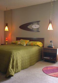 Luxury Home Decoration Ideas Mid Century Modern Bedroom, Mid Century Decor, Mid Century Style, Mid Century Modern Furniture, Mid Century Design, Retro Interior Design, Interior Office, Interior Ideas, Retro Bedrooms