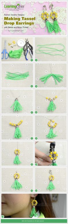 Fashion Jewelry Designs- Making Tassel Drop Earrings with Beads and Nylon Thread Tassel Jewelry, Beaded Jewelry, Jewlery, Tassel Bracelet, Handmade Necklaces, Handcrafted Jewelry, Diy Fashion Projects, How To Make Tassels, Fabric Flower Tutorial
