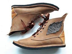 UK 6 / US 8, Woodland fairy tale leather boots, MUSTARDSEED 3212 burnt fudge, golden tan