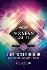 Modern Lights Flyer (styleWish studio) Tags: city blue light party house colors lines modern club poster lights design flyer circles shapes clubbing nightclub event trendy flare forms hiphop hip typo effect trance stylish partyflyer rnb layered