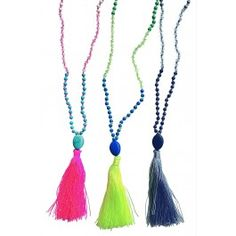 The most stunning tassel necklace you'll find, these long sparkling necklaces are embellished with a dyed turquoise stone and crystals.