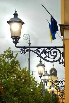 Lamps  Church tower - Debrecen Lantern Post, Lantern Lamp, Candle Lamp, Candle Lanterns, City Lights, Street Lights, Dark Weather, Standard Lamps, Street Lamp