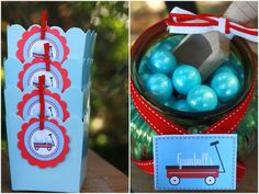 favor boxes & gumballs styled by tresor Red Wagon Party, Little Red Wagon, 1st Birthday Parties, Birthday Ideas, Radio Flyer, Gumball, Favor Boxes, Party Fashion, First Birthdays