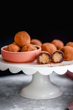 These vegan tiramisu truffles are a bite-sized spin on the classic Italian dessert - so rich and creamy. Made with Fudgy almond vegan cream cheese mix inside, espresso coffee and chocolate coating, and rolled in cocoa powder. It is so easy to make them and they are the perfect gift for the holidays! #vegan #truffles #christmas Vegan Gluten Free Desserts, Vegan Dessert Recipes, Delicious Vegan Recipes, Vegan Sweets, Vegan Food, Italian Desserts, How To Make Tiramisu, Vegan Tiramisu, Vegan Christmas Desserts