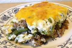 Low Carb Shepards Pie - Made it! Yum! Mixed veggies into seasoned beef.  Left out bacon and didn't mix cheese in with beef (only sprinkled a little on top of cauliflower)