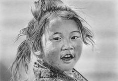 Pencil portrait of a Tibetan Girl by LateStarter63.deviantart.com on @deviantART