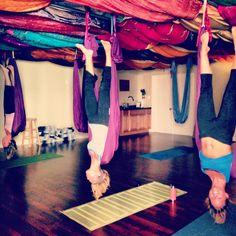 Bat pose: aerial yoga: berlin, Maryland USA