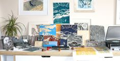 Woodcuts and lino building up in the studio!
