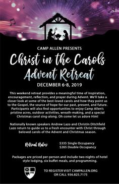 Nationally known speakers Andrew Lazo and Christin Ditchfield Lazo return to guide us to a fresh encounter with Christ through beloved carols of the Advent and Christmas season.