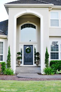 best exterior paint colors for small stucco home with orange tile roof Stucco House Colors, White Stucco House, Exterior Paint Colors For House, Paint Colors For Home, Exterior Colors, Exterior Design, Outside House Paint Colors, White Siding, Stucco Homes