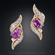 Oscar Heyman Pink Sapphire and Diamond Earrings