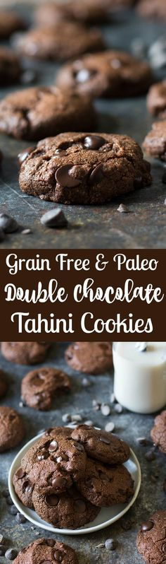 Rich, thick and chewy Paleo Double Chocolate Tahini Cookies packed with dark chocolate and sweetened with unrefined coconut sugar.  The tahini adds depth to the flavor and gives the cookies an incredible texture!  Gluten free, grain free, dairy free.