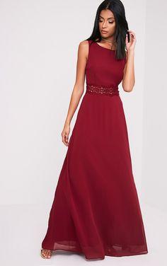 Caitlan Burgundy Lace Insert Maxi Dress Image 4