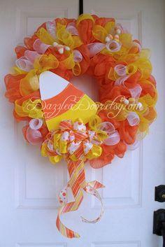 Candy Corn Deco Mesh Wreath Halloween Wreath Candy by DazzleaDoor Holidays Halloween, Halloween Crafts, Halloween Wreaths, Halloween Decorations, Fall Decorations, Halloween Ideas, Deco Mesh Crafts, Wreath Crafts, Diy Wreath