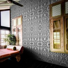 Inspired by fractals, optical art and snake scales, this designer wallpaper will bring the exotic into any room of the modern home. Animal Print Wallpaper, Retro Wallpaper, Elle Decor, Designer Wallpaper, Fractals, Wall Murals, Black And White, Luxury, Modern