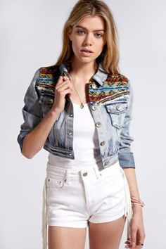 Boutique Laura Crop Denim Aztec Tassle Trim Jacket #boohooboutique