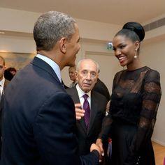 US First Black President meet Israel first Black Miss Israel.