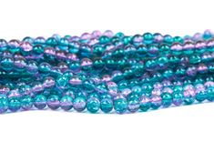 6mm Pink and Turquoise Teal Blue Crackle Glass Round Beads, double strand, about 140 beads bgl1136