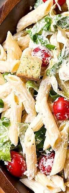 Caesar Pasta Salad-a creamy and delicious pasta salad with all the flavors of a…