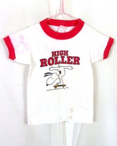 vtg 70s Norwich Snoopy Peanuts High Roller Ringer T-Shirt Skate 6-7 months