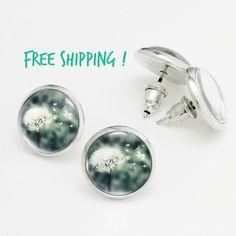 Dandelion Stud Earrings. Summer Dandelion Earrings Studs. Glass Dome, Nickel Free Stud Earring, Silver Dandelion Stud Earrings KSZ03R02K01S