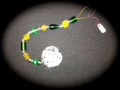 """Large Hanging Beaded Crystal (40mm =1.57"""" diameter) with green and yellow glass beads for Feng Shui by JulsCraftCrazy, $18.00"""