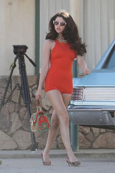 """Selena Gomez Photos Photos - Selena Gomez on the set of a video shoot in Palmdale, California. .Selenaez tur turned heads as she flaunted different dressed during the shoot. Fans of Ms. Gomez will be able to catch her on the big screen alongside Ashley Benson and Vanessa Hudgens later this month in """"Spring Brs.kers."""" PhotogrPac: PacificCoastNews. - Selena Gomez on Set in Palmdale"""