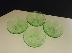 Green Depression Glass Bowls  Vaseline by WidhalmsCollectibles, SOLD