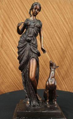 DIANA THE HUNTER BRONZE STATUE SCULPTURE BY AUGUSTINE MOREAU ART DECO FIGURINE | eBay